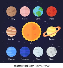 Vector flat  icon set of solar system planets, sun and moon on dark space background. Mercury, venus, earth, mars, jupiter, saturn, uranus, neptune, pluto, stars and sun.