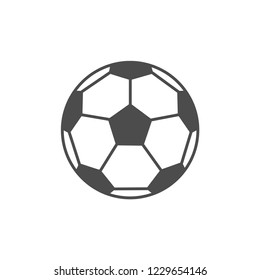 Vector flat icon of soccer football ball. Grey outline. Pictogram