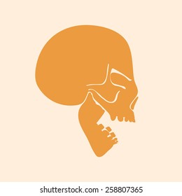 Vector flat icon of speaking skull with open mouth. Profile view. Silhouette.