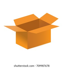 Vector flat icon style illustration: open empty brown carton or cardboard box, known as warehouse or shipping box.