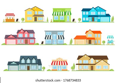 Vector flat icon suburban american house and street store. For web design and application interface, also useful for infographics. Family house icon isolated on white background.