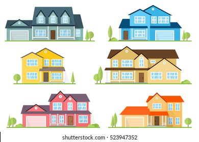 Vector flat icon suburban american house. For web design and application interface, also useful for infographics. Family house icon isolated on white background. Neighborhood with homes illustrated.