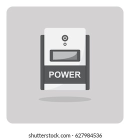 Vector of flat icon, Uninterruptible power supply (UPS) on isolated background