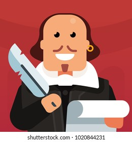 Vector flat icon of William Shakespeare. The creation of poetry. A genius writes a play. Creation of a literary masterpiece. Classic english literature. Funny picture of the writer.