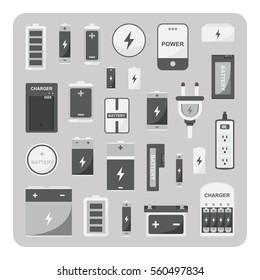 Vector of flat icons, Different battery set on isolated background