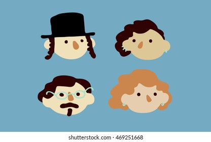 Vector flat icons: people. Including:  hasidic jewish young man, man with glasses and mustache; red hair woman; woman with brunette hair, one side shaved haircut and earrings.
