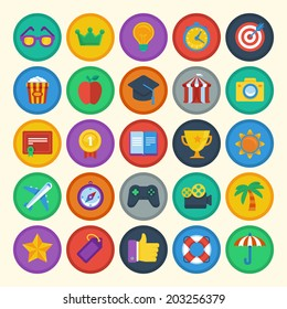 Vector flat icons set - bright achievement badges - gamification - new trend in online business