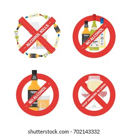 Vector flat icons set of concepts stop drinking alcohol with bottles and glasses. Vector realistic flat no alcohol icons set isolated on white background.