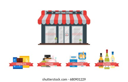 Vector flat icons set of Duty Free shop facade and catalog icons for perfume, alcohol, chocolate and cigarette packs at airport. Isolated illustration of store building for tax free airport shopping.