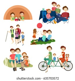 Vector flat icons set of family characters camping, hiking. Family summer outdoors vacation, weekend symbols isolated on white background.