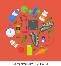 Vector flat icons, set of fitness, sport, healthy lifestyle tools, elements. Healthy lifestyle concept, flat illustration.