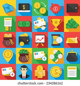 Vector flat icons set with long shadow for web and mobile apps.Colorful modern design illustrations,elements, symbols, concepts of banking,financial service, business growth, investment,accounting,etc