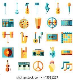 Vector flat icons set, Music theme. Guitar, tape, drums, note, vinyl. Rock, metal, pop, hip hop, punk, electronic, latin, classical, jazz, blues, disco.