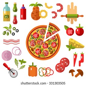 Vector flat icons set of Pizza with slice and ingredients - tomato, olive, onion, pepper, mushroom, shrimp, cheese, bacon, pineapple, sausage in flat design. Fast or junk food. Top view.