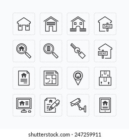 Vector flat icons set of real estate property outline concept.