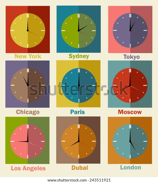 Vector flat icons. World clock, time difference in major cities