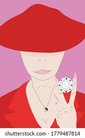 Vector flat illustration about a woman playing poker. Card sharper woman illustration. Woman with a chip in a hand. Woman playing poker. Girl in a red dress and a red hat.