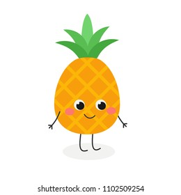 Vector flat illustration of adorable cartoon pineapple isolated on white background