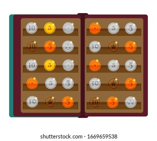 Vector flat illustration of album for old rare collectible coins isolated on white background. Accessory for numismatist. Gold, silver, copper and bronze coins. Hobby, collecting and self-education