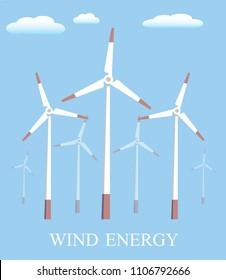 Vector flat illustration. Alternative sources of energy. Green energy. Windmills. Vector illustration