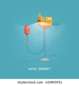 Vector flat illustration. Alternative sources of energy. Green energy. Wave electricity generator.