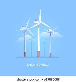 Vector flat illustration. Alternative sources of energy. Green energy. Windmills.