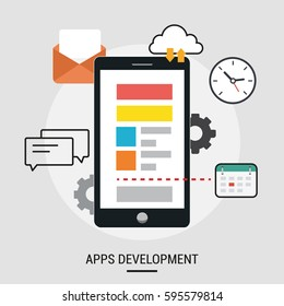 Vector flat illustration of App development