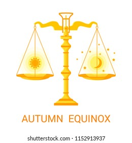 Vector flat illustration of the autumn (or fall) equinox. Design concept with scales of justice symbolizing equal duration of daytime and nighttime.