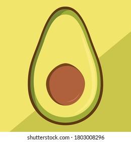 Vector flat illustration of an avocado