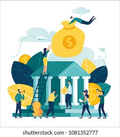 Vector flat illustration, bank building on white background, money exchange, financial services, ATM, giving out money, small bankers are engaged in work, a man holds a large bag with money in a bank