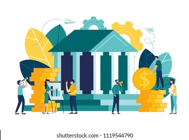 Vector flat illustration, bank building on a white background, bank financing, money exchange, financial services, ATM, giving out money