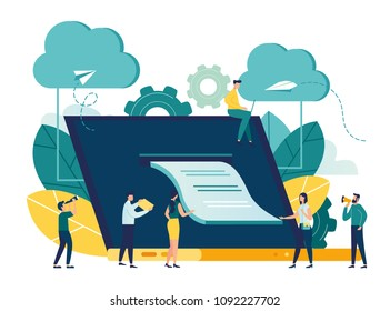 vector flat illustration, banking, electronic mobile payment, notice of payment, a large laptop with a check coming out of the screen