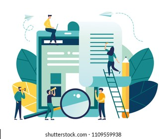 vector flat illustration, Banking, electronic Mobile payment, payment notification, large tablet with check, contract conclusion, information search