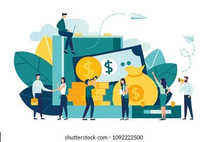 vector flat illustration, banking, money transfers, open suitcase full of money