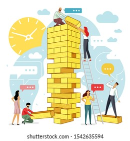 Vector flat illustration big tower jenga with group of young development specialists. Teamwork, messages in social networks and messengers.