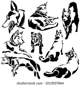 Vector flat illustration of black silhouette dogs on white background. Animals. Year of the dog. Elements for design.