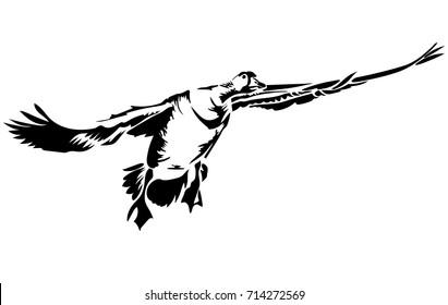 Vector flat illustration of black silhouette flying goose. Element for design.