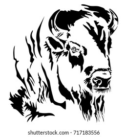 Vector flat illustration of a black silhouette head of the bison. Element for design.