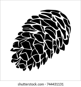 Vector flat illustration of black silhouette pinecone on white background.