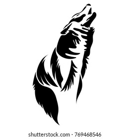 Vector flat illustration of black silhouette wolf on white background. Element for design.