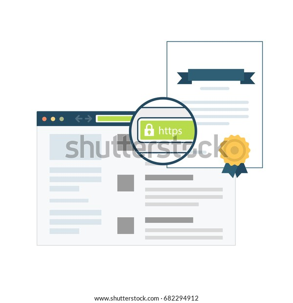 Vector Flat Illustration of a Browser with an SSL Certificate Installed on a Domain