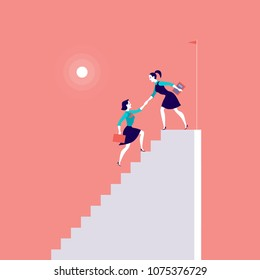 Vector flat illustration with business ladies climbing on top of white stairs together on red background. Victory, achievement, reaching aim, partnership, motivation, lady team, feminism - metaphor.