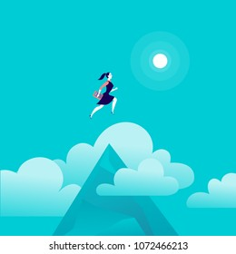 Vector flat illustration with business lady jumping above mountain peak on blue sky with isolated clouds. Motivation, moving upwards, aspirations, new aims and perspectives, achievements - metaphor.