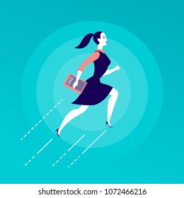 Vector flat illustration with business lady jumping upwards isolated on blue background. Motivation, moving up, aspirations, growth, new aims and perspectives, achievements, woman move - metaphor.