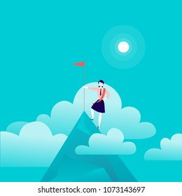 Vector flat illustration with business lady standing on mountain peak of holding flag on blue clouded sky background. Victory, achievement, reaching aim, aspirations, motivation, leader - metaphor.