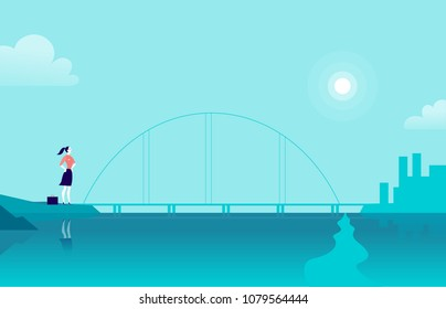 Vector flat illustration with business lady standing at sea coast bridge looking at city on another side. Metaphor for new achievements, aspirations, aims, leadership, career goals, motivation.
