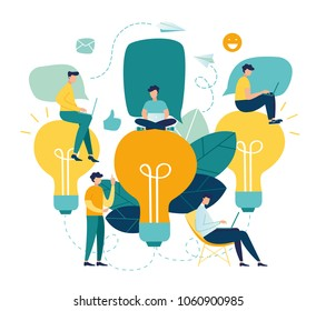 Vector flat illustration, business meeting and brainstorming, business concept for teamwork, searching for new solutions, little people are sitting on light bulbs in search of ideas