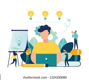 Vector flat illustration, business meeting and brainstorming, business concept for teamwork, searching for new solutions, little people are sitting on light bulbs in search of ideas - Vector