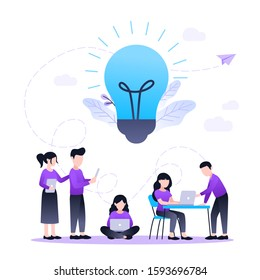 Vector flat illustration, business meeting and brainstorming, business concept for teamwork, searching for new solutions, little people are sitting on floor, light bulb in search of ideas
