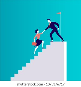 Vector flat illustration with business people climbing together on top of white stairs isolated on blue background. Team work, achievement, reaching aim, partnership, motivation, support - metaphor.